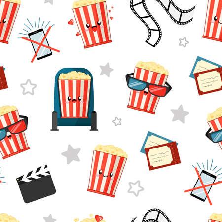 cartoon kawaii smiling buckets of popcorn watch film, tickets, clapperboard, smartphone and film roll, cinema seamless pattern