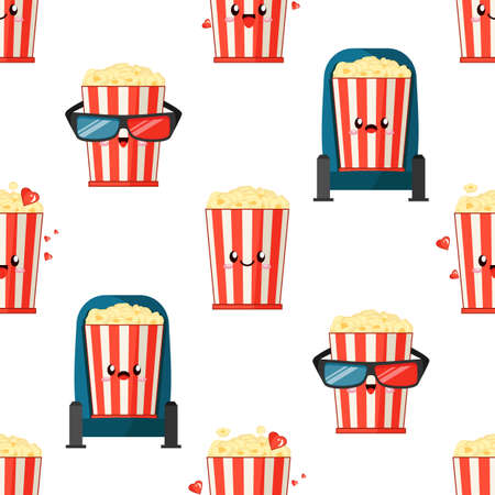 cute emoji popcorn buckets with red and white strips watch film and express different emotions