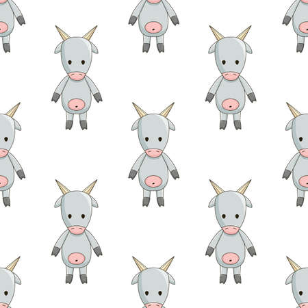 cartoon gray toy goat, cute seamless pattern on white background chequerwise