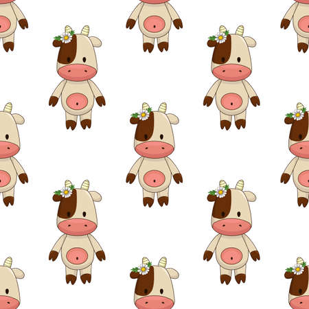 little cartoon toy cow with chamomile near ear and brown spot around eye. Seamless vector pattern on white background chequerwise