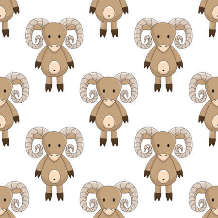 cartoon toy sheep, brown ram with screw horns, seamless pattern on white background chequerwise