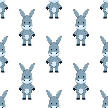 little gray toy donkey, cute cartoon seamless pattern on white background chequerwise