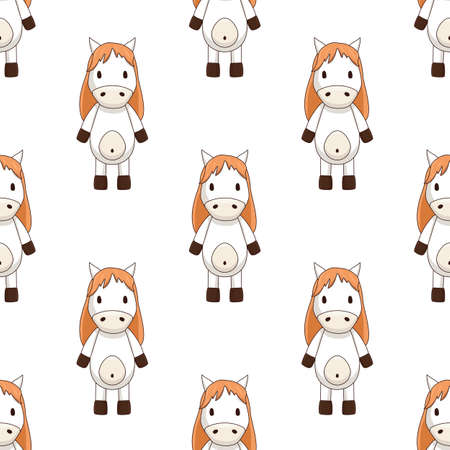 seamless pattern of white toy horse with brown mane on white background chequerwise