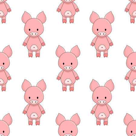 seamless pattern of cute pink cartoon pigs on white background chequerwise