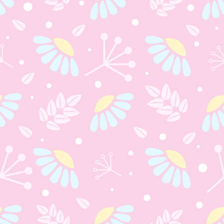 Blue flowers of chamomile, stylized pink leaves and flat geometric branches on purple backround. Seamless gentle botanical pattern