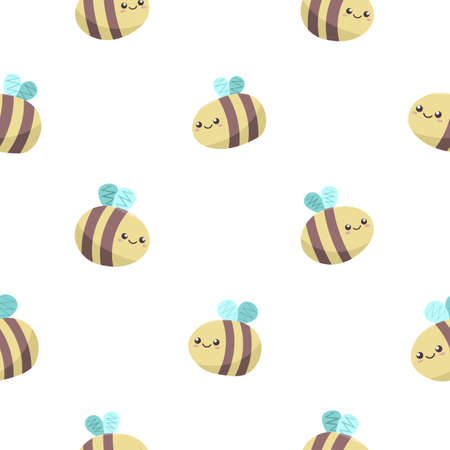cute kawaii cartoon honey bees with smiling faces fly on white background, seamless vector pattern. funny kids wallpaper.