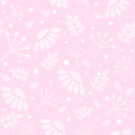 pink pastel monochrome seamless backround with stylized flowers of chamomile, leaves and flat geometric branches. tender botanical wallpaper 일러스트