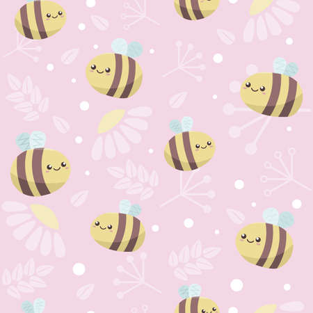 Kawaii cartoon bees with smiling faces fly on pink backround with branches, leaves and flowers. Cute gentle seamless pattern for children 일러스트