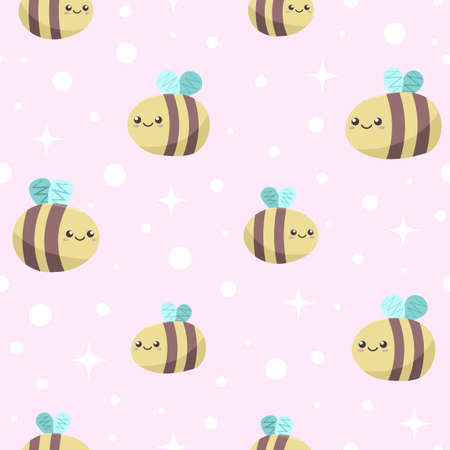 cute kawaii smiling bees fly on tender pink background with white circles and stars. funny cartoon wallpaper for kids