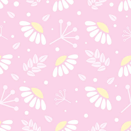 stylized white chamomiles, pink leaves and branches, pastel tender vector seamless background 일러스트