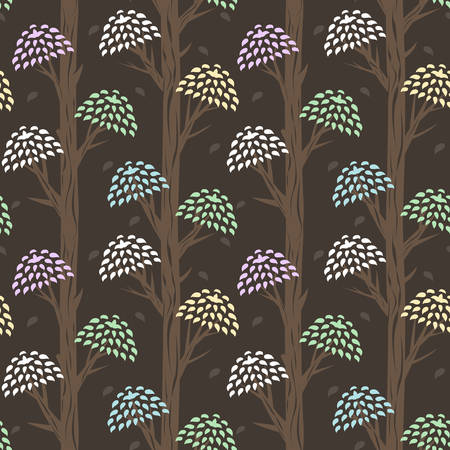 seamless background with stylized crooked brown trunks of trees and bright crowns of blue, green, yellow, pink and white leaves. Magic strange tropical trees on brown background, contrast vector wallpaper Illustration