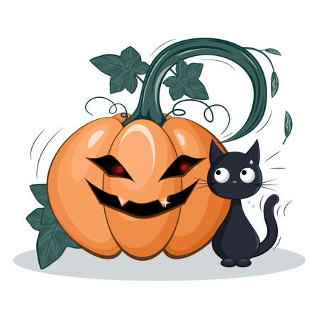 Scared trembling black cat looks back at the monster pumpkin. Kitten shivers and Halloween`s pumpkin frightening laughs, grimaces and reaches out its branch to the cat. Funny cartoon isolated illustration.
