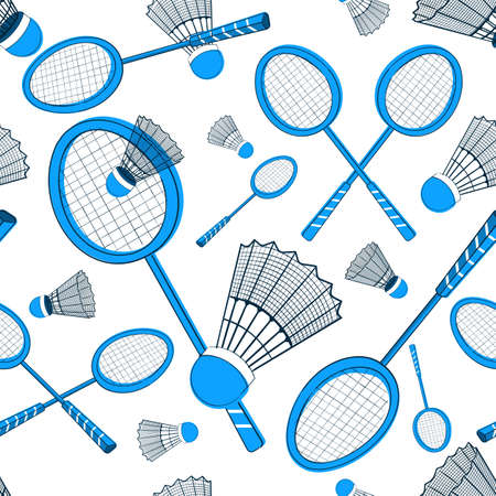 Hand drawn blue Badminton shuttlecock and racket. Sport seamless background with volants and badminton racquets in sketch style.