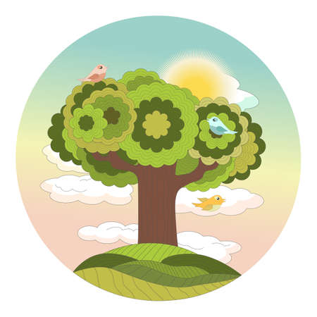 Sunrise, dawn in the forest above a tree on a hill with tweeting birds. Round cartoon vector illustration for children.
