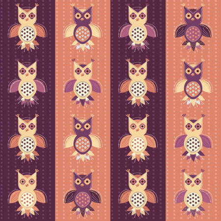 Seamless background with cute cartoon owls, which fly by vertical rows. Night, forest birds of prey in ethnic style.
