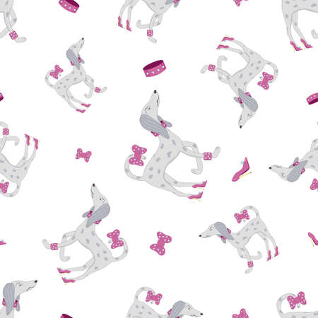 Cartoon seamless pattern with glamour dog in high-heeled shoes scornfully turns back. Angry proud dog is surrounded by a collar with rhinestones, a bracelet with diamonds and a pink bow.  イラスト・ベクター素材