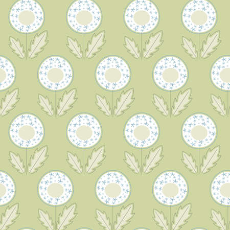 White dandelions, stylized cartoon blowballs with green leaves and white and blue blossoms, seamless vector background with illustration of field flowers.