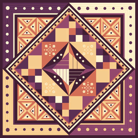 square geometric violet, yellow, orange ethnic seamless background with mosaic pattern of triangles, squares, dots, lines.