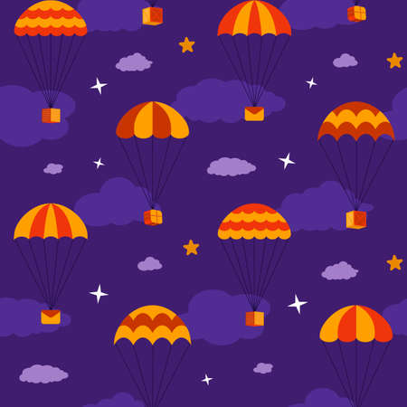 Red and yellow parachutes in flat style with boxes, mails, envelopes and gifts fly in the night sky, seamless vector background with drop shipping among clouds and stars. Foto de archivo - 137153340