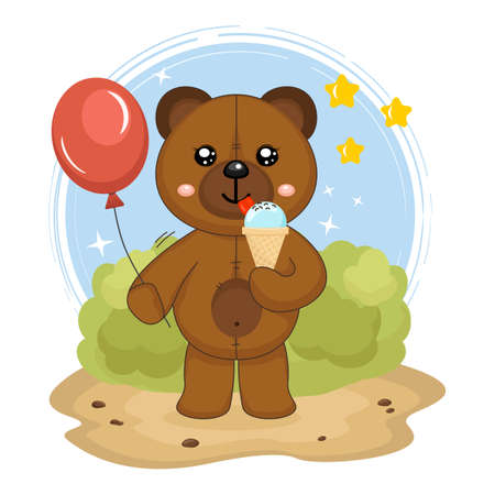 cute little cartoon toy brown teddy bear eats ice cream and hold red balloon on his hand. Isolated vector illustration for kids