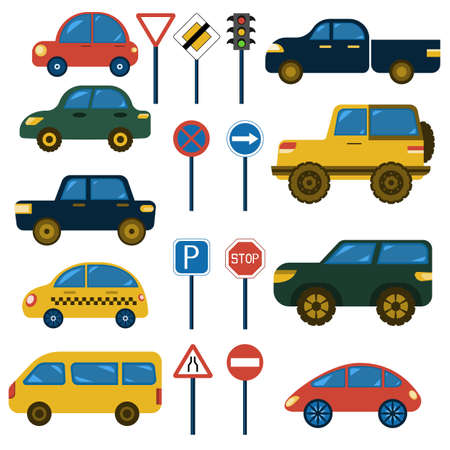 Stylized child's drawing of vehicles, funny cartoon cars, side view, traffic light and road signs, vector collection on white background
