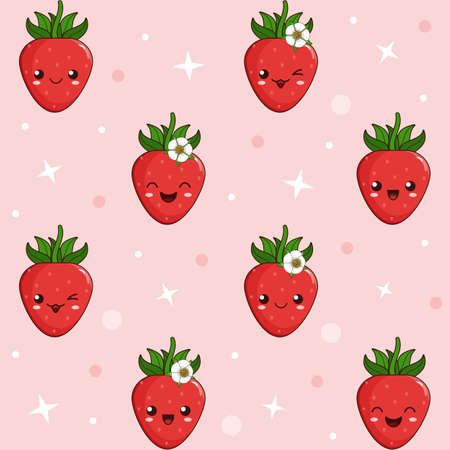Cute kawaii cartoon berries of strawberry with the different facial expressions smile, laugh, wink. The emoji strawberries in chess order next to stars and circles, funny seamless background for kids