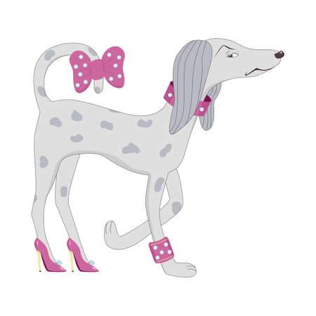 Angry proud fashionable dog in high-heeled shoes scornfully turns back. A glamour dog in a collar with rhinestones, a bracelet with diamonds and a pink bow on the tail. Humorous parody illustration.