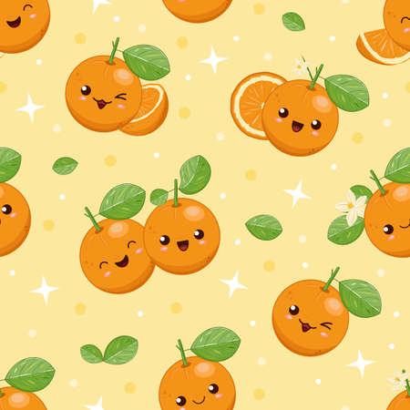 Cute kawaii cartoon smiling oranges, seamless vector background for children. Friut, slices and pieces of emoji orange with green leaves and flowers. Funny happy citruses.