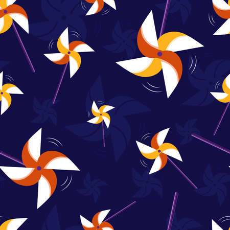 Colorful paper pinwheel, seamless vector pattern with red and yellow windmills which spin on a dark-blue, violet background.