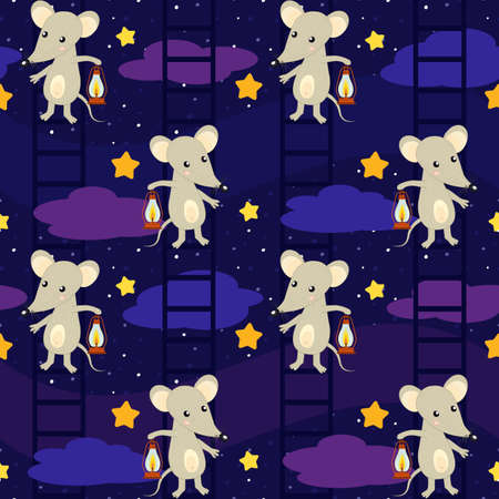a cute cartoon mouse with an oil lamp goes down the stairs along the night starry cloudy sky, kind seamless vector background for kids about mice, night, fairy dreams and sleeping. Vectores