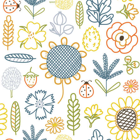 Colorful silhouettes of field flowers and herbs, seamless vector background with drawn flat sunflower, poppy, knapweed, cereal, leaves, mustard flowers and other agricultural and meadow plants.