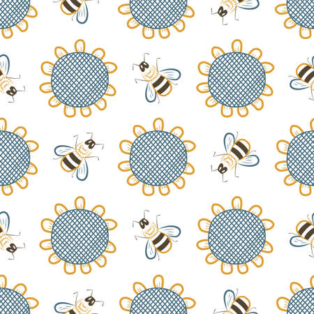 Seamless vector background with hand-drawn colorful silhouettes of sunflowers and bees, flat rural wallpaper.