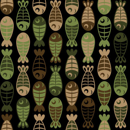 Vertical rows of cute cartoon khaki fish swim chequerwise, staggered and look at each other, protection vector seamless background with abstract silhouettes of black, brown and green fishes.