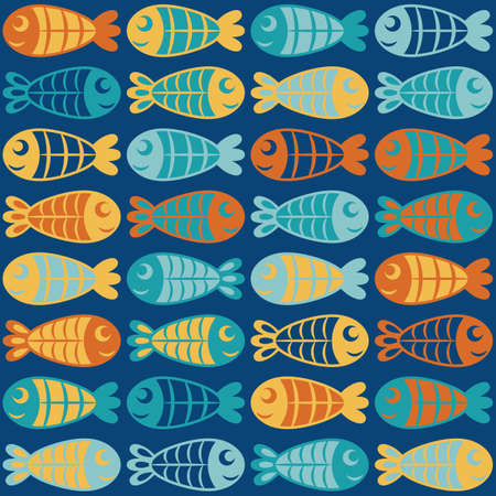 Cute funny colorful fish swim one after another, horizontal rows of smiling fishes, cartoon sea, nautical seamless vector background for children.
