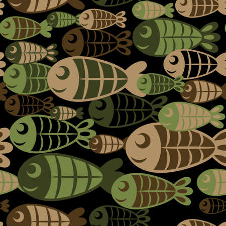 Green, brown and black camouflage silhouettes of abstract cartoon fish, protection vector seamless background. Иллюстрация