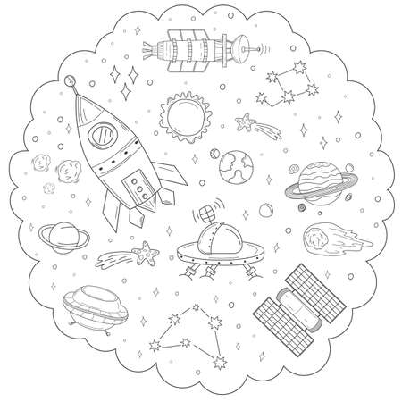 Vector collection in sketch style with silhouettes and black edges, contours of drawn rocket, different planets, alien spaceship, ufo, stars and asteroids in the sketch style. Black and white vector set with cosmic objects.