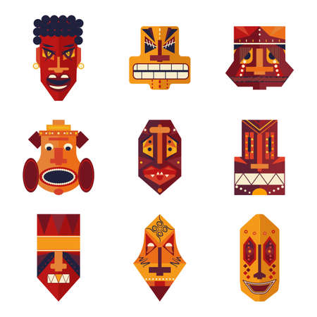 Ugly terrible cartoon tribal African masks with different facial expressions. Heads of monsters and demons with angry, lust, scared, frightened, painful faces. Vector collection of grotesque voodoo masks.