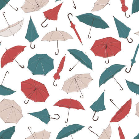 Hand drawn umbrellas from different angles in sketch style. Seamless vector background with red, green and white umbrellas of different foreshortening in chaotic order.