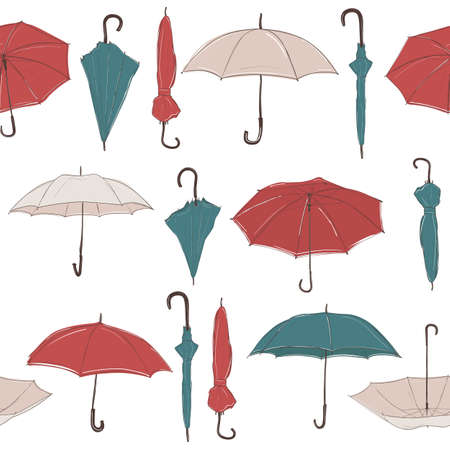 Seamless vector background with straight rows of hand drawn umbrellas in sketch style. Red, green and white umbrellas of different foreshortening.