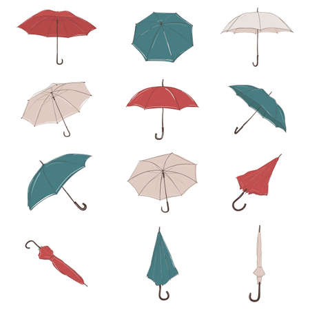 Vector collection of hand drawn umbrella from different angles in sketch style. Colorful parasols set.