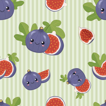 Cute cartoon purple figs fruit with smiling faces, leaves, pieces and slices of fig on the green striped background, funny seamless vector pattern for children.