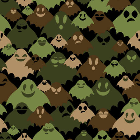 Rows of green, black and brown ghosts with various faces, camouflage khaki vector seamless background for army. Иллюстрация