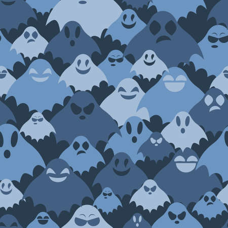 Camouflage vector seamless pattern with blue silhouettes of ghosts. Phantoms with various facial expressions smile, laugh, frighten, army texture for navy.