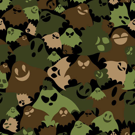 Green, black and brown ghosts fly in chaotic order and frighten, camouflage mystic seamless vector background for army.
