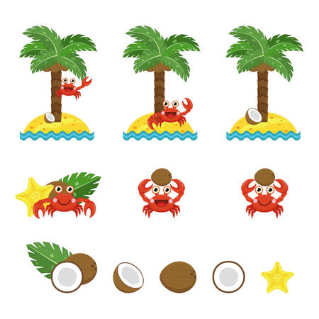 Crab, coconut and palm, vector collection. Cute cartoon crab smiles, holds coconut, sits on coconut palm. Half coconut, slice and leaf of palm in various sides. Coconut lies under palm tree on sand island. 矢量图像