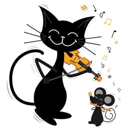 Two musicians-friends, a black cat and a gray mouse are playing music. The black cat is playing violin, the rat is playing flute. Funny kind cartoon illustration about music, friendship and animals for kids.