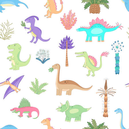 It is the seamless vector background for kids with cute cartoon dinosaurs. Prehistoric dinos are walking between ancient imaginary plants. Funny bright hand-drawn dinosaurs are drawn in sketch style.