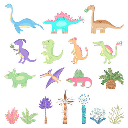 It is the vector collection of cute cartoon imaginary dinosaurs and ancient plants. There are funny imaginary dinos, trees and ferns from kid's dreams.