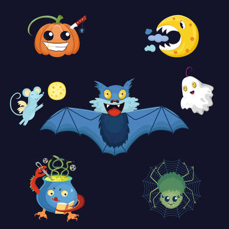 It's the weird funny vector collection of Halloween's symbols such as a pumpkin, a bat, a moon, a ghost, a spider and a cauldron. Funny and scared cartoon monsters and animals are flying, smiling and conjuring.