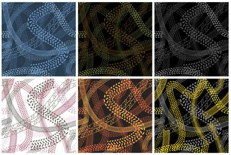 Vector collection of seamless camouflage textures with various prints of car wheels. Military backgrounds with abstract silhouettes of tire-tracks, set of six palettes.